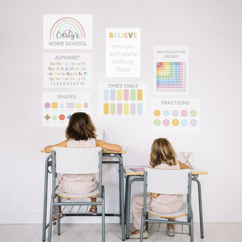Two girls sit at traditional school desks with their backs to us, working at their homeschool with homeschooling posters stuck on the wall above them.
