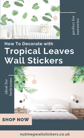 Pinterest image of Tropical Leaves Wall Stickers from Nutmeg Studio