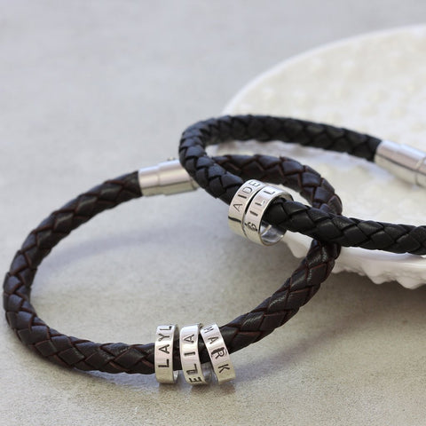 Personalised Men's Leather Bracelet with Silver Hoops
