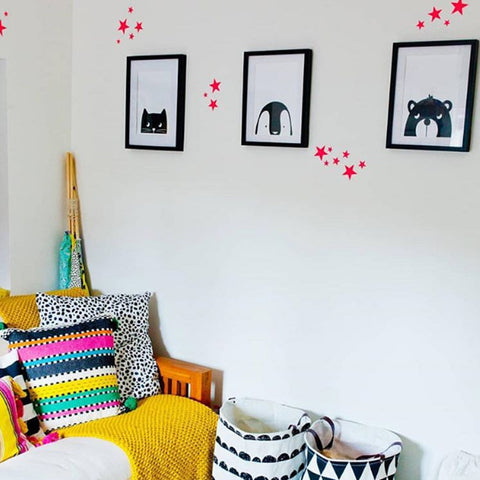 neon star wall stickers