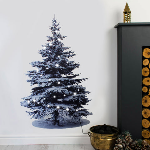 Scandi style Christmas tree wall sticker with real lights