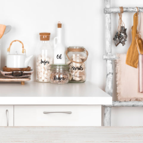 Quick and easy ways to organise your home with stickers, including labelling cooking ingredients