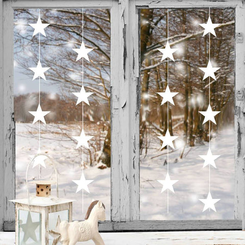 White Christmas Star Garland Wall and Window Sticker