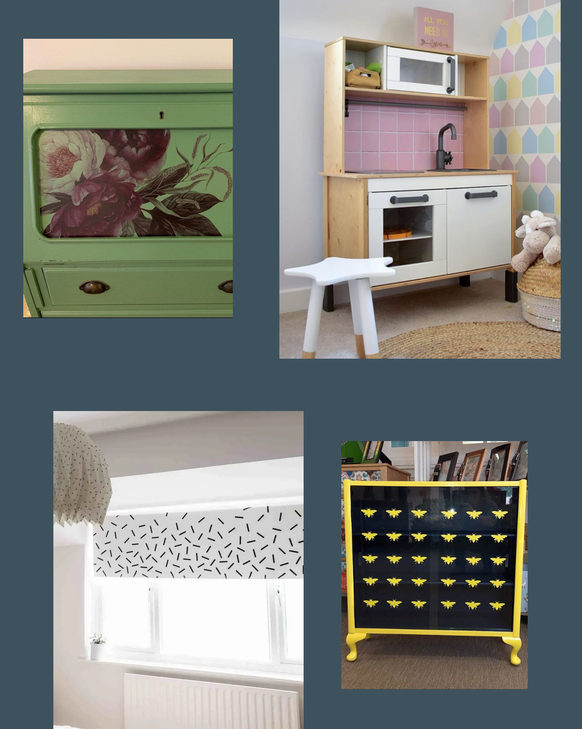 Furniture upcycling revamp using wall stickers