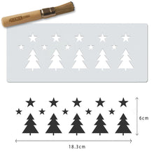 Christmas trees and stars stencil