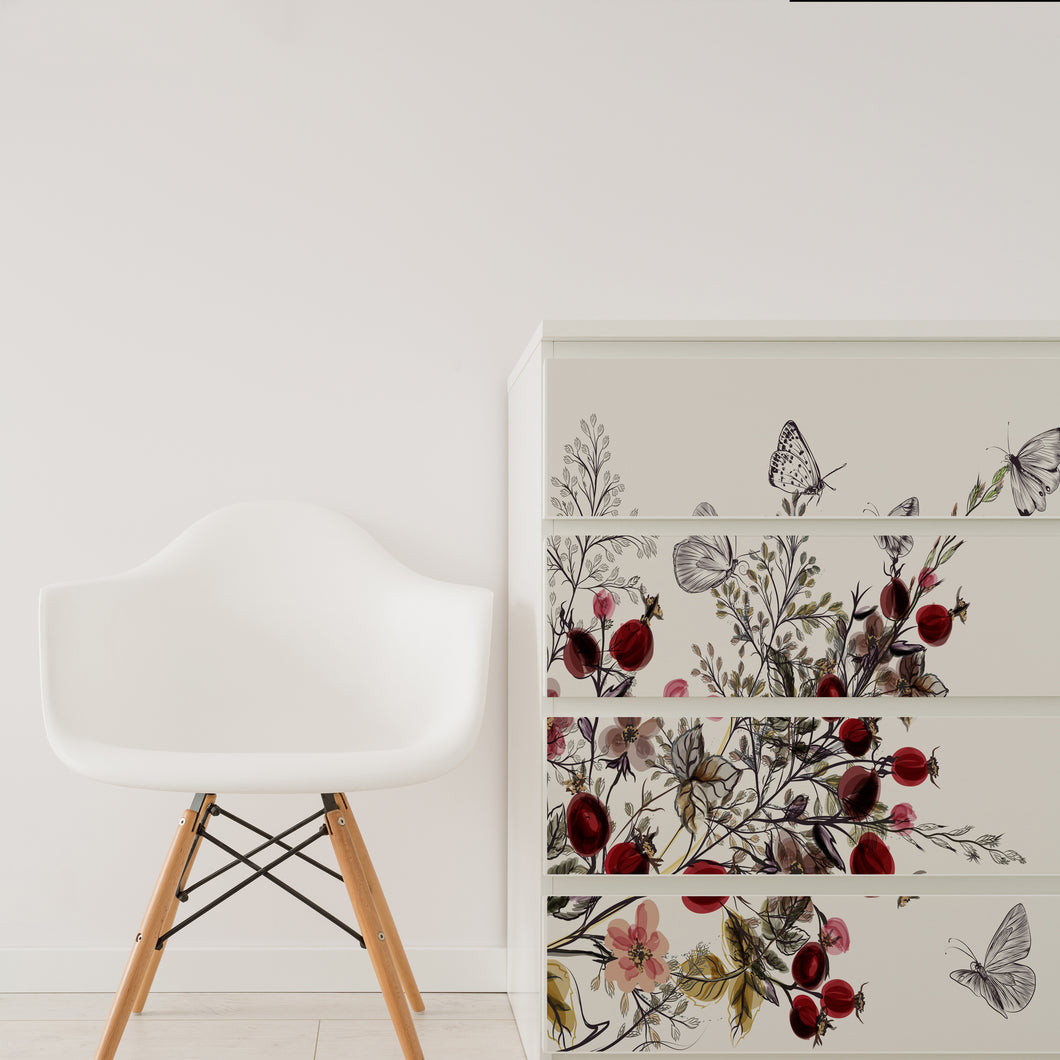 Butterfly Floral Furniture Stickers Ikea Hack For Ikea Malm Drawers