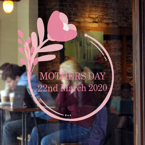 Floral Circle Mother's Day Retail Shop Window Sticker Vinyl