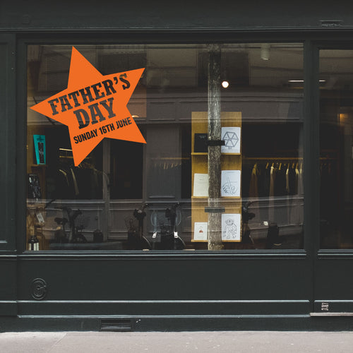 Star Father's Day Retail Shop Window Sticker Vinyl