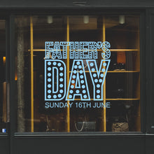 Father's Day In Lights Retail Shop Window Sticker Vinyl