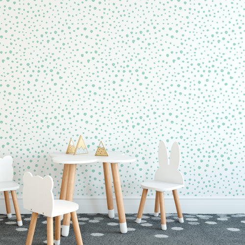Mint Dalmatian Dots Self-Adhesive Wallpaper