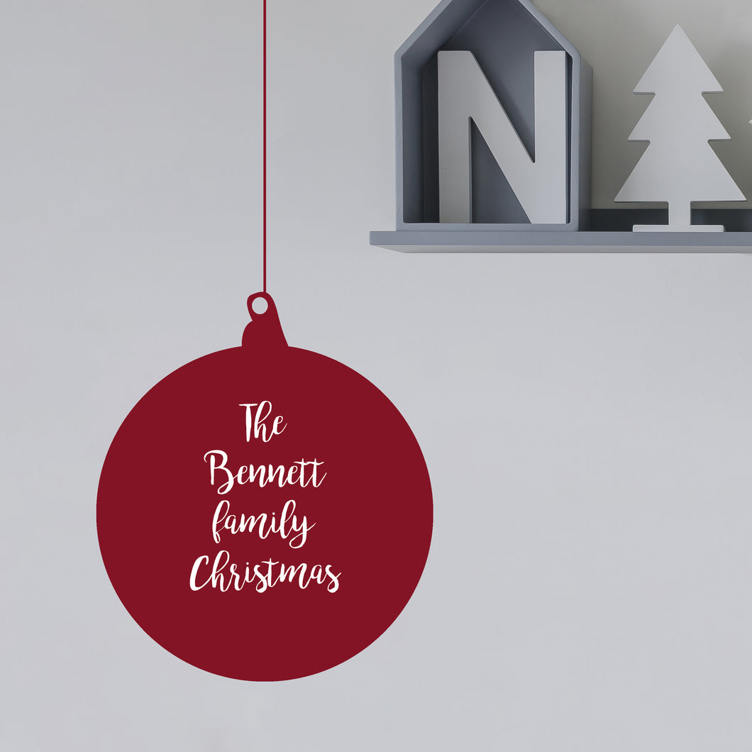 Personalised Family Christmas Bauble Wall Sticker
