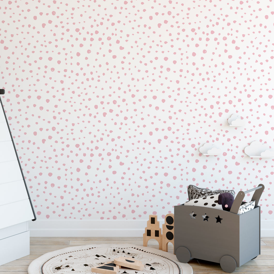Pink Dalmatian Dots Self-Adhesive Wallpaper