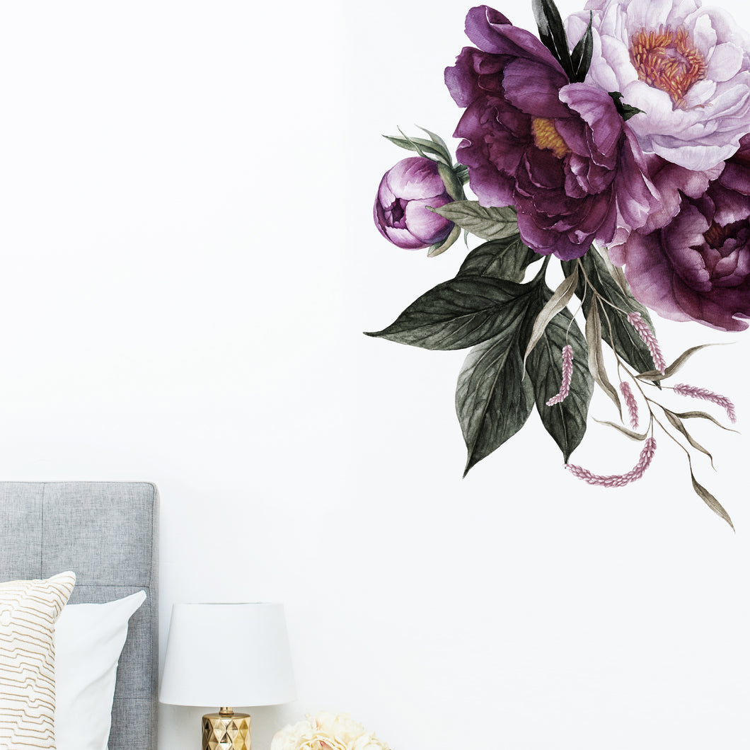 Rich Plum Peonies Floral Corner Wall Sticker