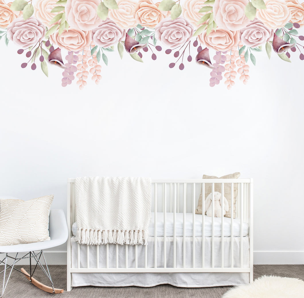 Rose Floral Border Wall Sticker