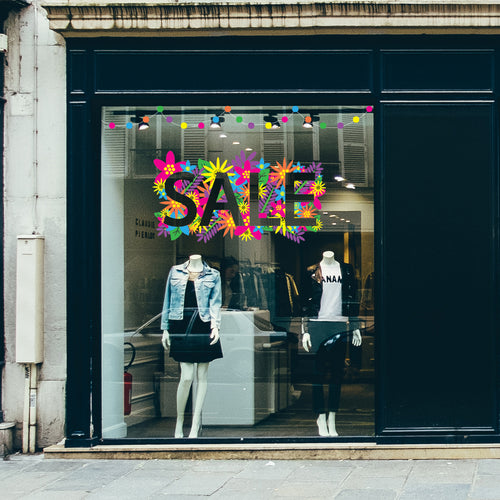 Floral SALE retail window vinyl
