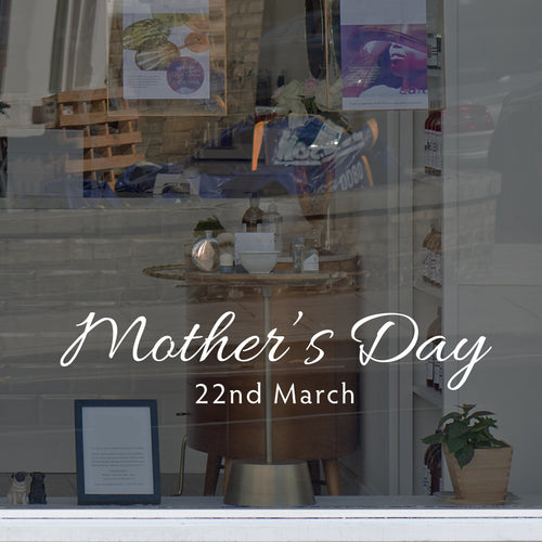 Script Mother's Day Retail Shop Window Sticker Vinyl