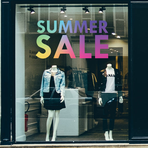 Rainbow Summer Sale Retail Shop Window Sticker Vinyl