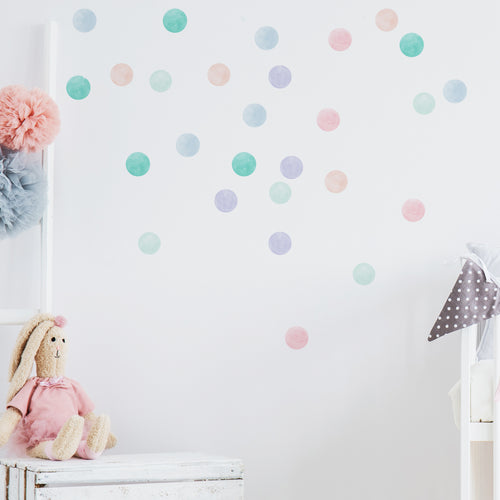Small Pastel Watercolour Confetti Dot Wall Stickers
