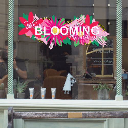 We've Blooming Missed You Floral Coronavirus Retail Window Graphic Vinyl