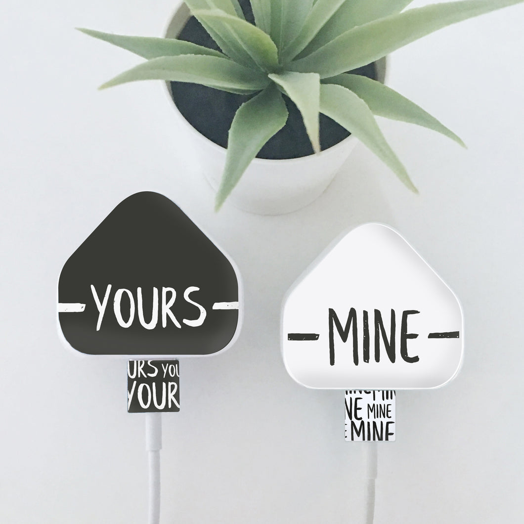 Set Of Two Yours & Mine or His / Hers Charger Stickers. Compatible With iPhone, iPad and iPod Chargers