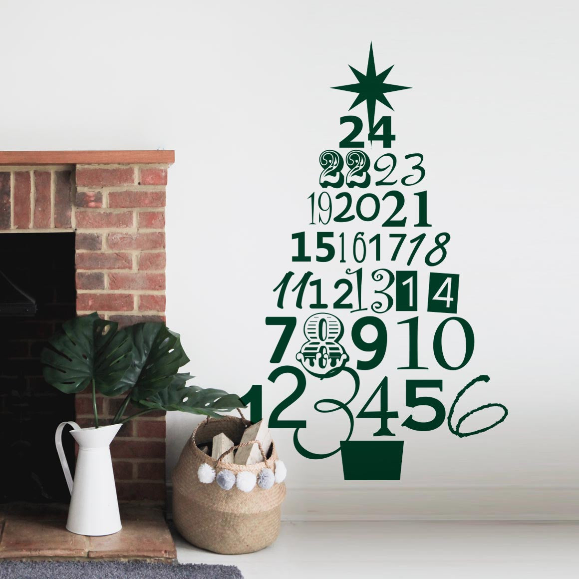Advent Christmas Tree Wall Sticker Part 65