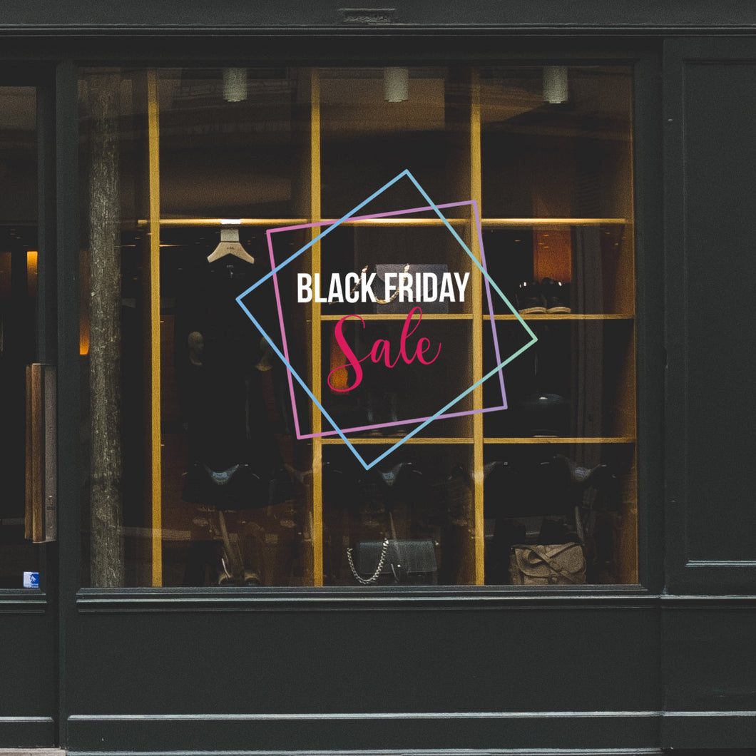 Geometric Black Friday Sale Retail Window Vinyl Sticker