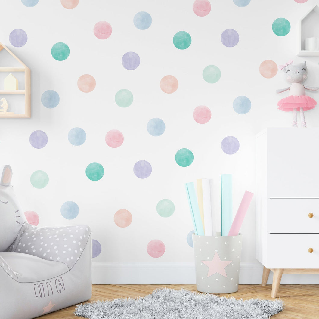 Medium Pastel Watercolour Confetti Dot Wall Stickers