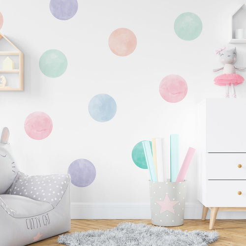 Large Pastel Watercolour Confetti Wall Sticker Dots