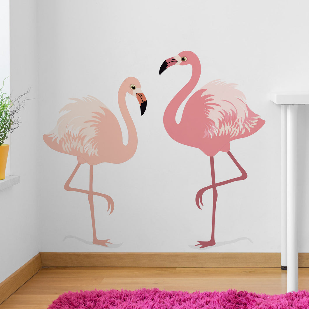 Wall Sticker Set of two Flamingos