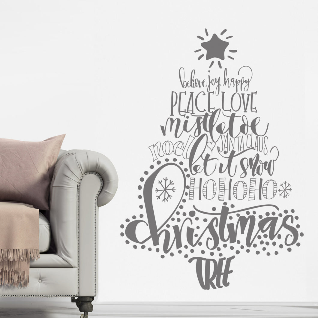 Ellen waldren calligraphy christmas tree wall sticker nutmeg studio ellen waldren calligraphy christmas tree wall sticker amipublicfo Images