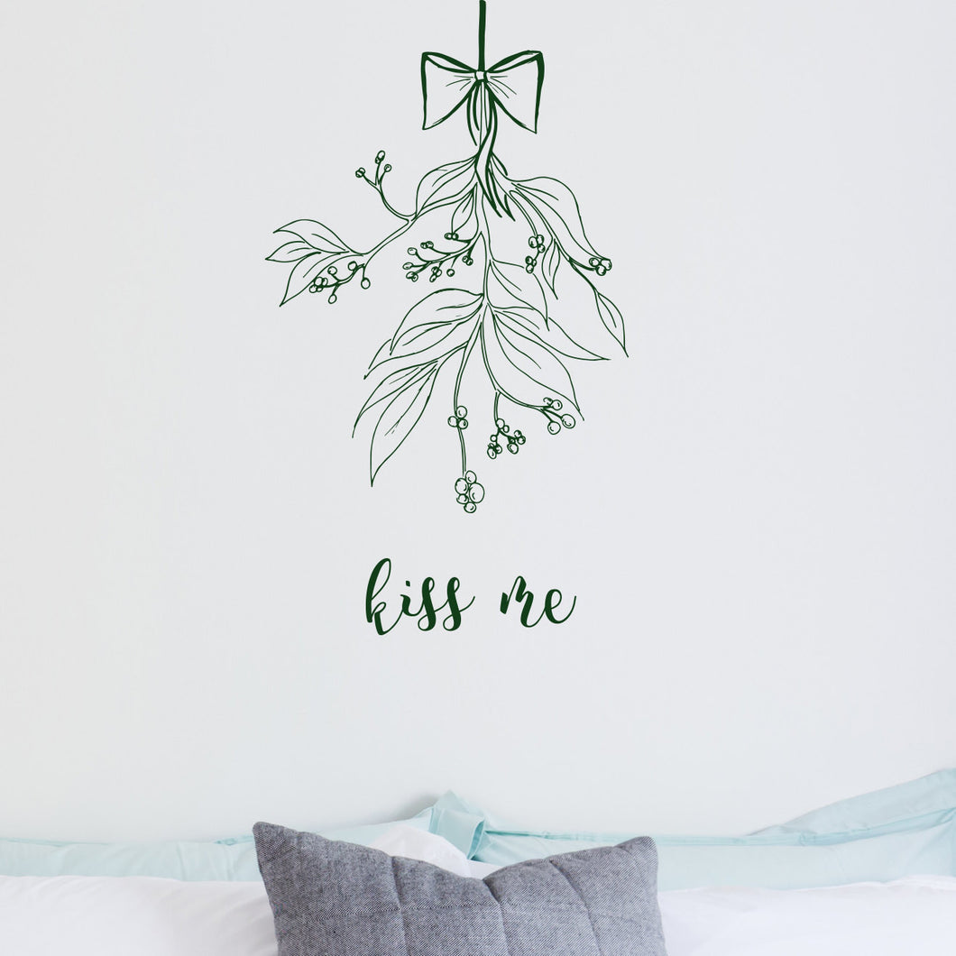 Wall Sticker Christmas Kiss Me Mistletoe
