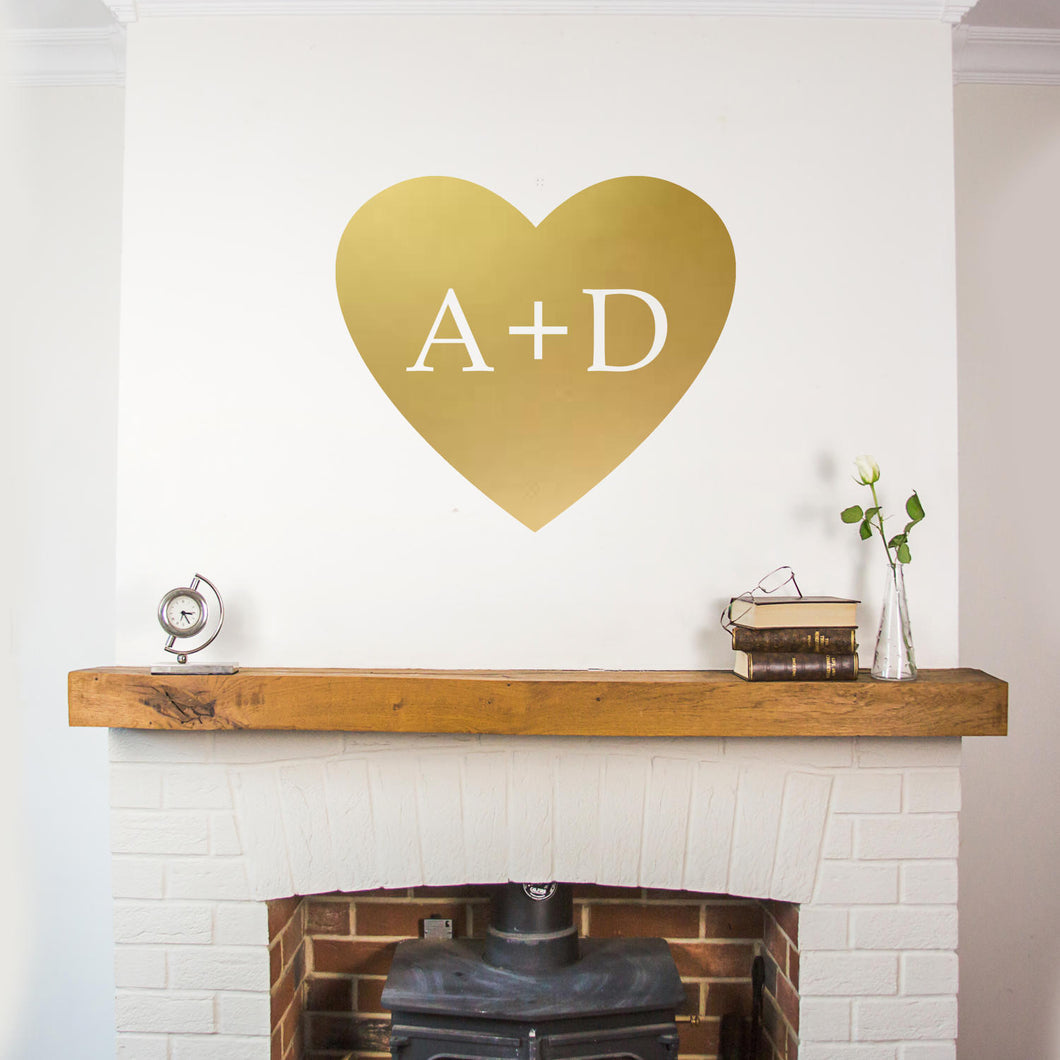 Heart Shape Personalised Initials Wall Sticker