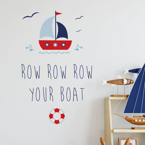 Row Row Row your boat wall sticker