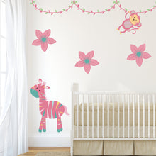 Pink Jungle Animal Wall Stickers