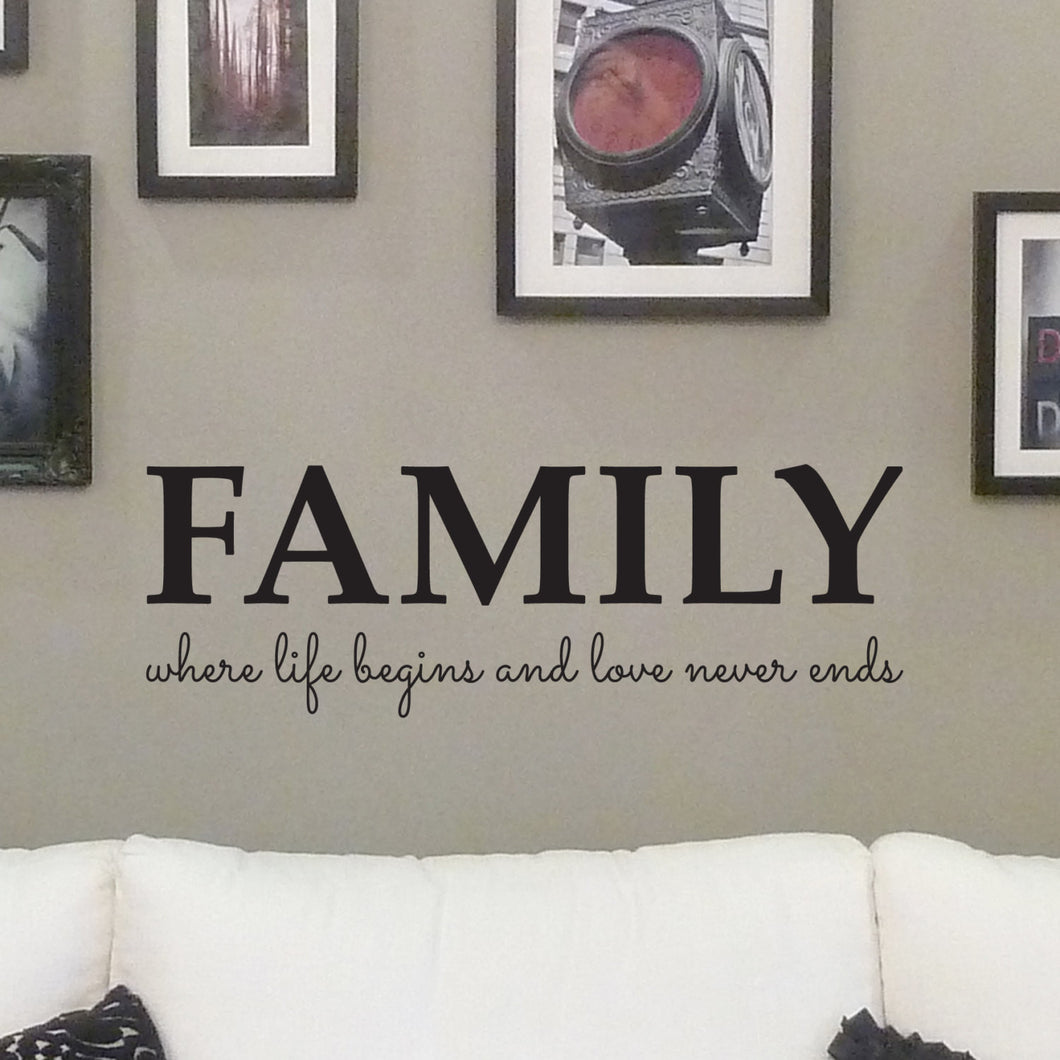 Wall sticker family where life begins