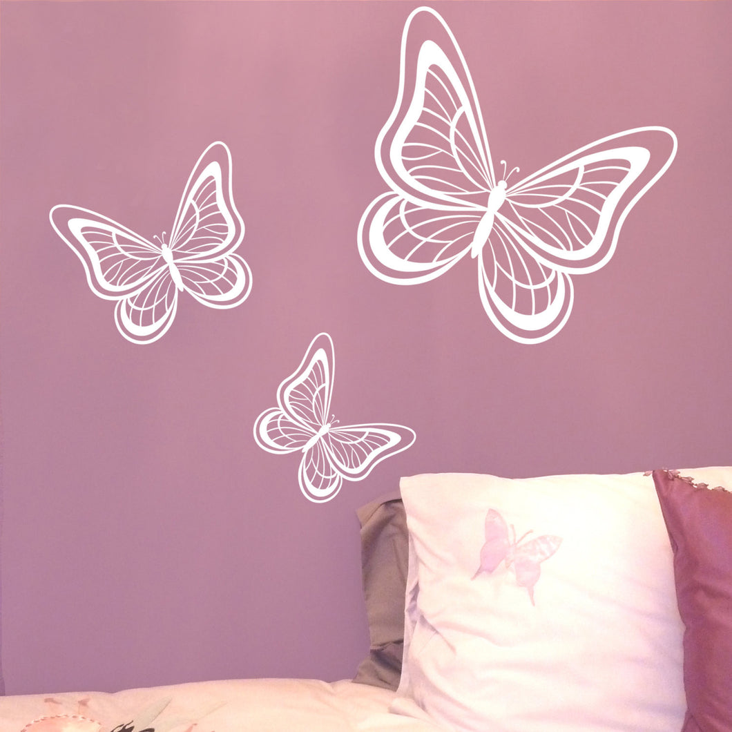 Awesome Butterfly Wall Stickers Set Of 3