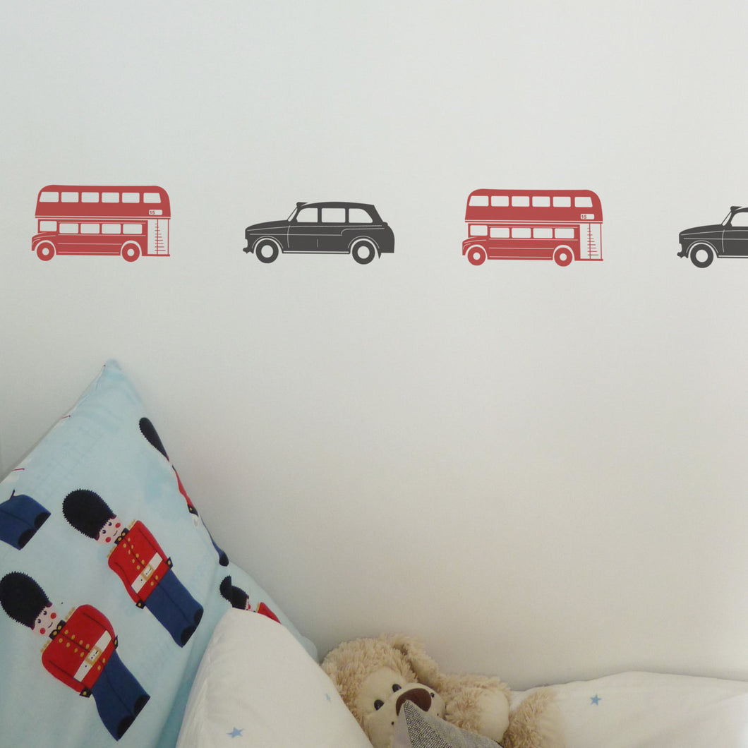 London Bus or Taxi Wall Sticker Setss