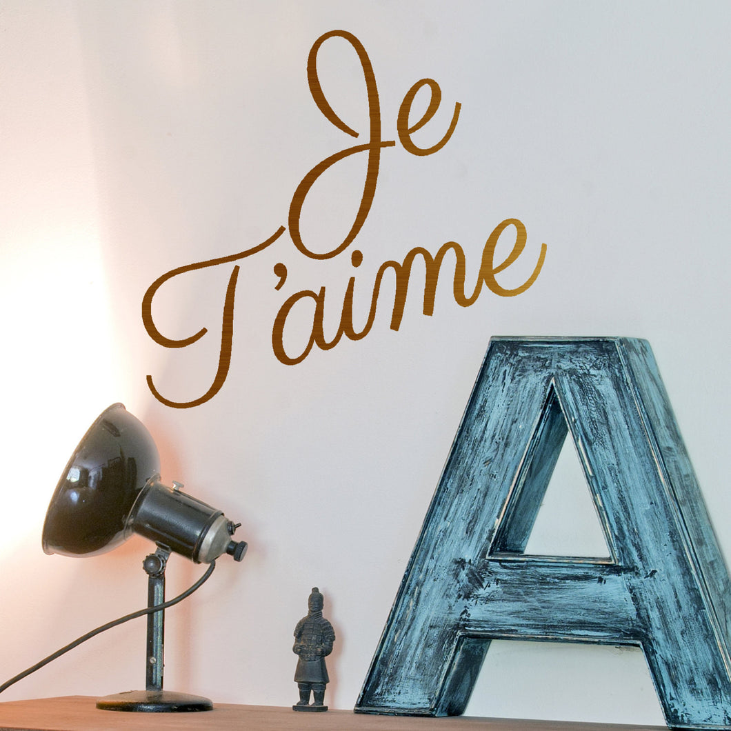 Wall sticker J'taime, metal look vinyl