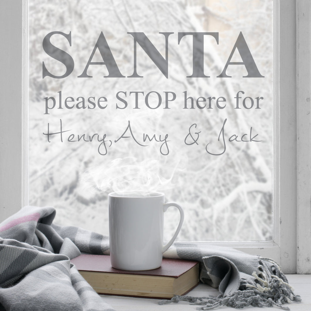 Personalised Santa Stop Here Wall Art Sticker