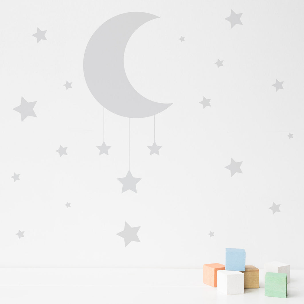 Delightful Moon And Stars Wall Sticker Part 21