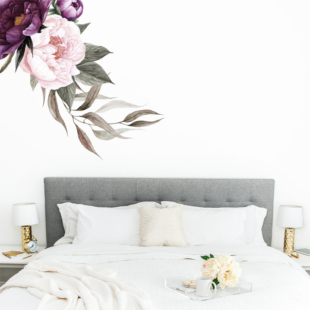 Rich Plum Peonies Floral Wall Sticker