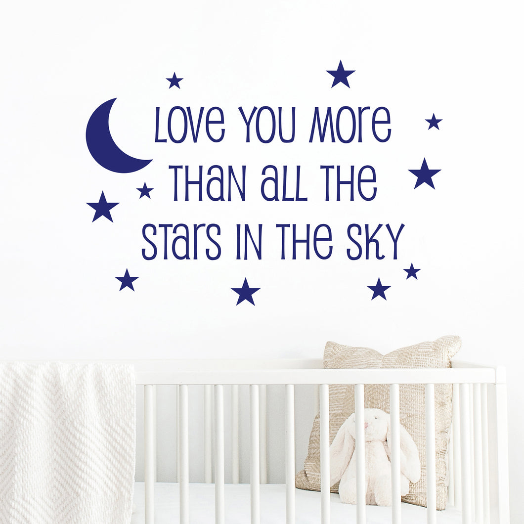 Love you more than all the stars in the sky wall quote