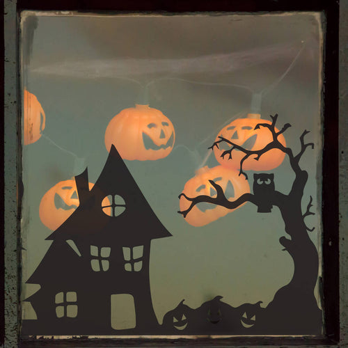 Halloween Spooky Village Scene Vinyl Sticker