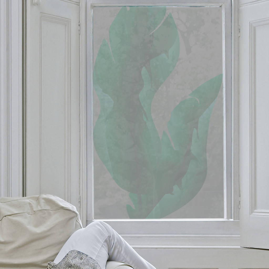 Large Tropical Leaves Window Film
