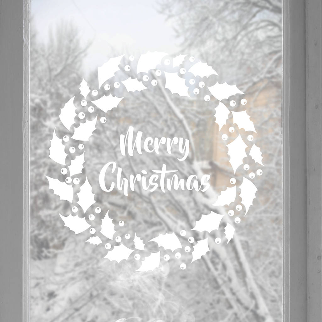 Merry Christmas Wreath Wall or window Sticker