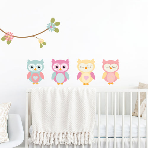 Set of Woodland Owls Wall Stickers