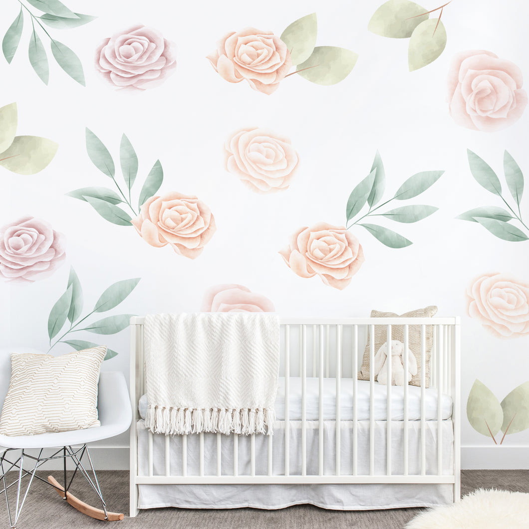 Rose Floral Wall Sticker Mural