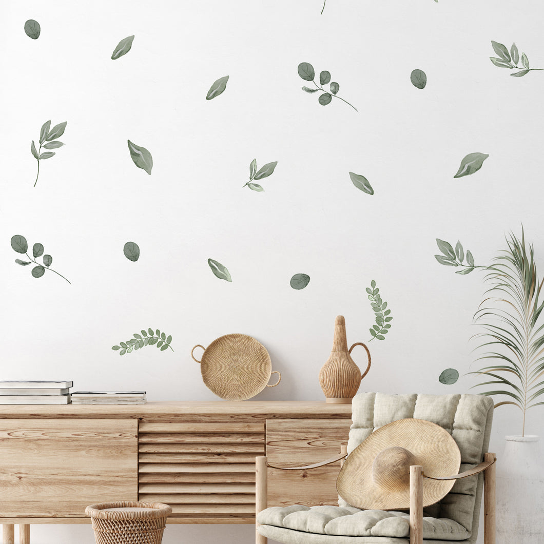 Rustic leaves wall stickers