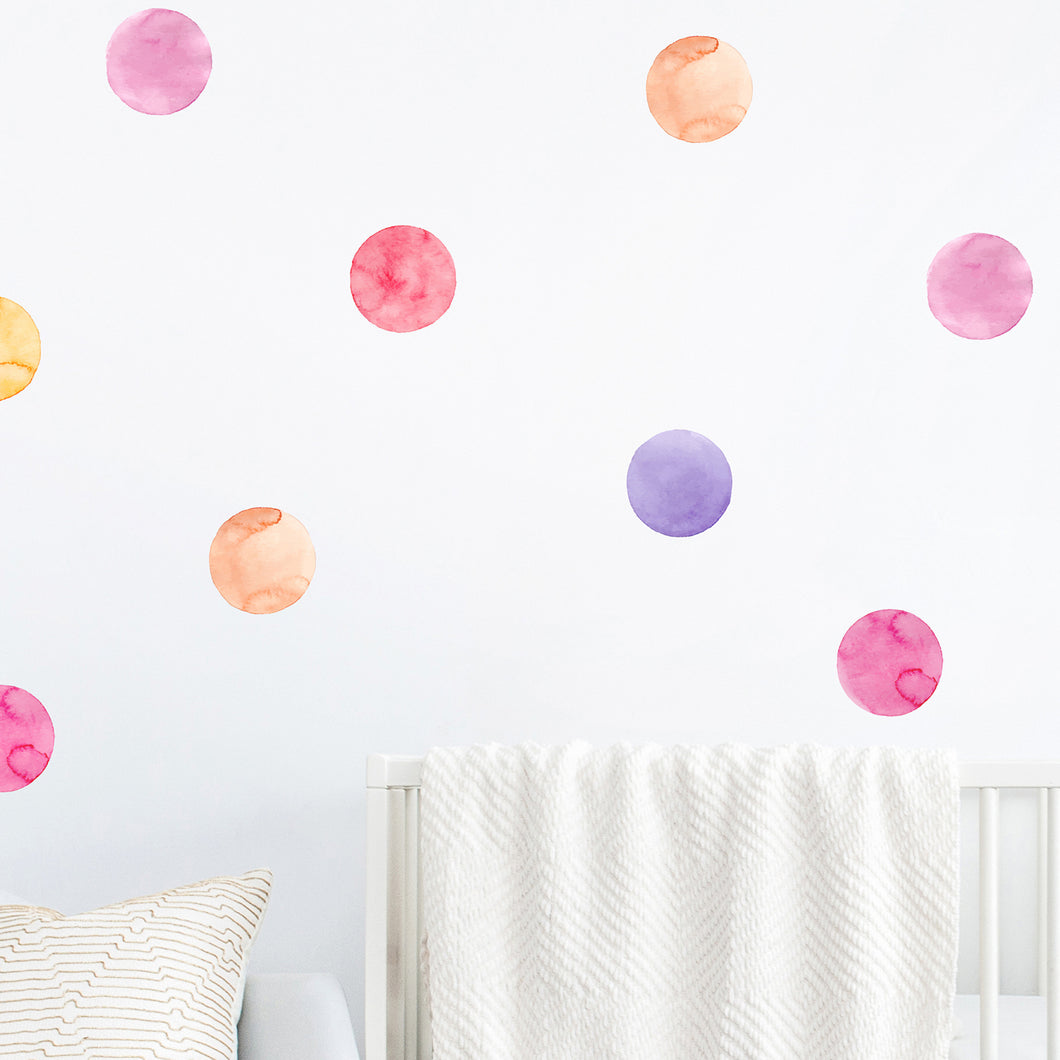 Shades of Pink Watercolour Dot Wall Stickers