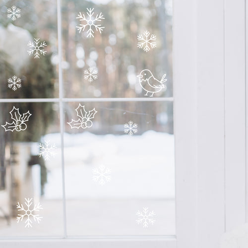Robin, holly & snowflakes window or wall stickers